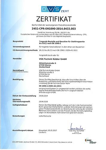 Zertifikat von VSK Technik Kübler